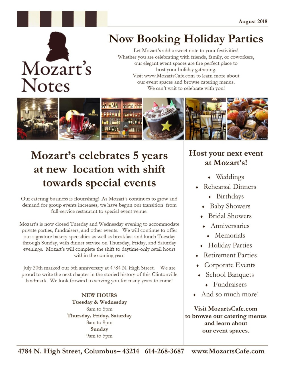 Mozart's Notes August 2018