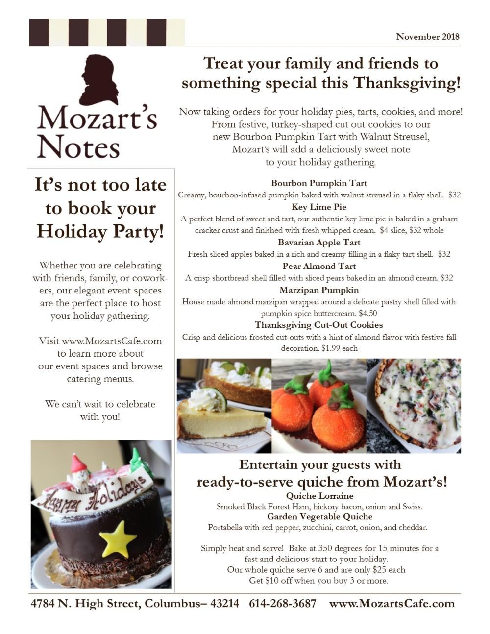 Mozart's Notes November 2018